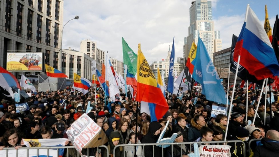 People attend an opposition rally in central Moscow on March 10, 2019, to demand internet freedom in Russia