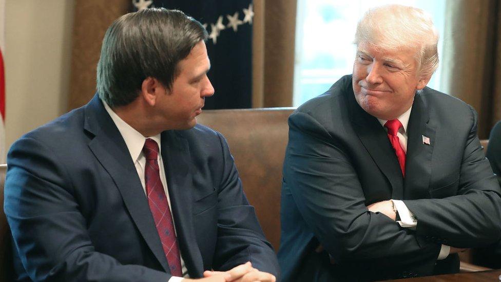 Ron DeSantis, gobernador de Florida, y Donald Trump, presidente de Estados Unidos
