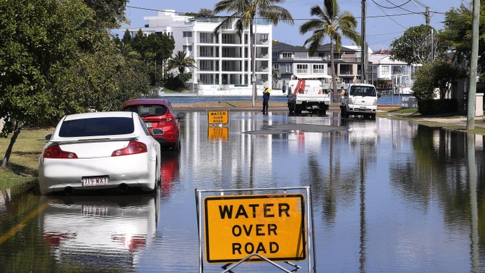 A flooded road on the Gold Coast, Queensland