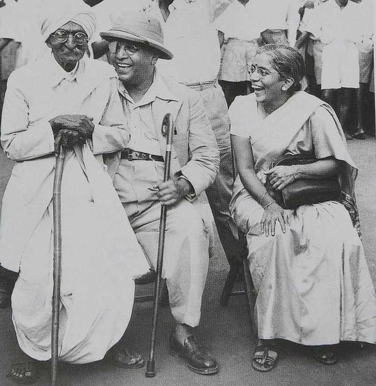 Dr Ambedkar (centre) with his second wife Mai Ambedkar and activist Rao Bahadur CK Bole (left) in Mumbai