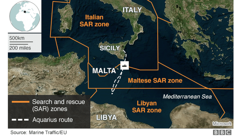 Map showing the approximate location of the ship Aquarius