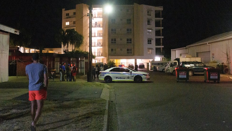 A police cordon outside the Palms Motel, one of the shooting locations