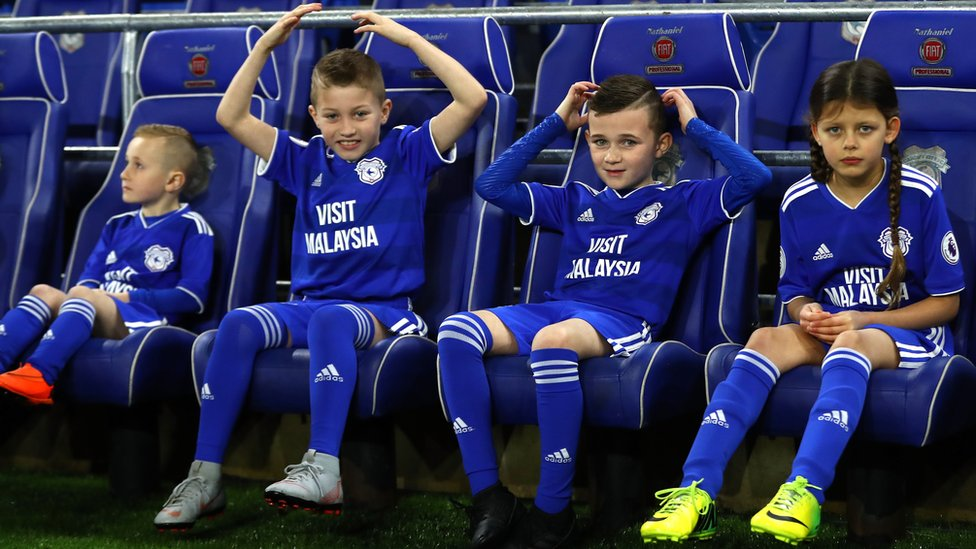 Cardiff City mascots in the dug-out