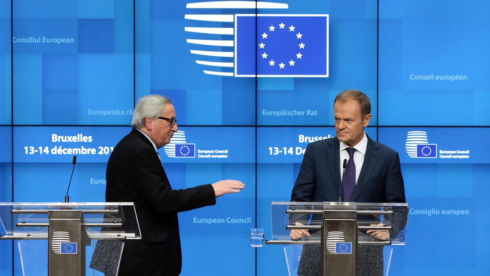 President of the European Council Donald Tusk, (L) and President of the European Commission Jean-Claude Juncker