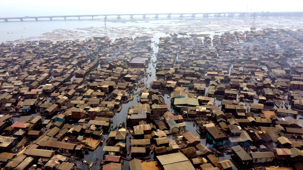 Aerial view of slum area