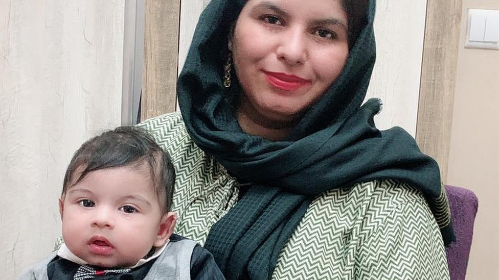 Firooza Omar with her four-month-old boy.