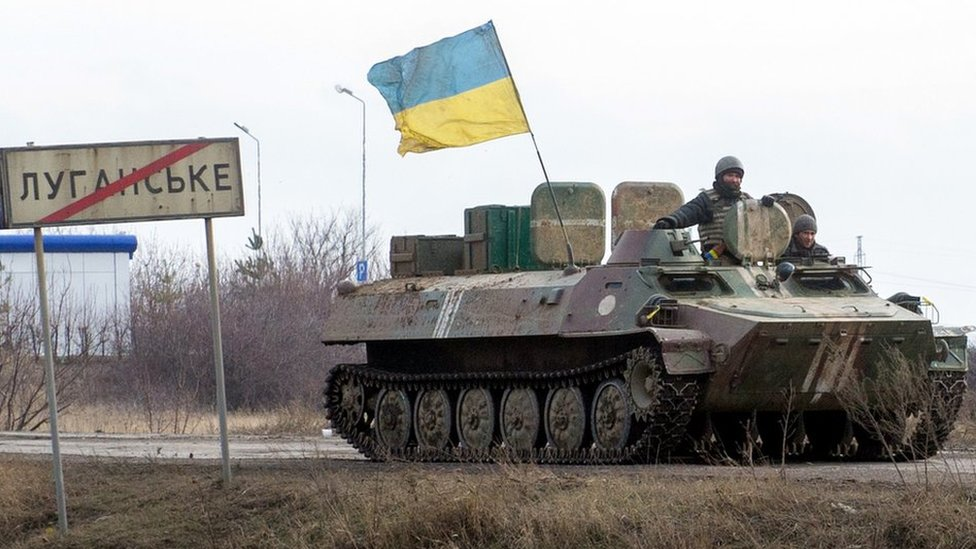 Ukrainian armoured vehicle in Donetsk region, Feb 2015 file pic