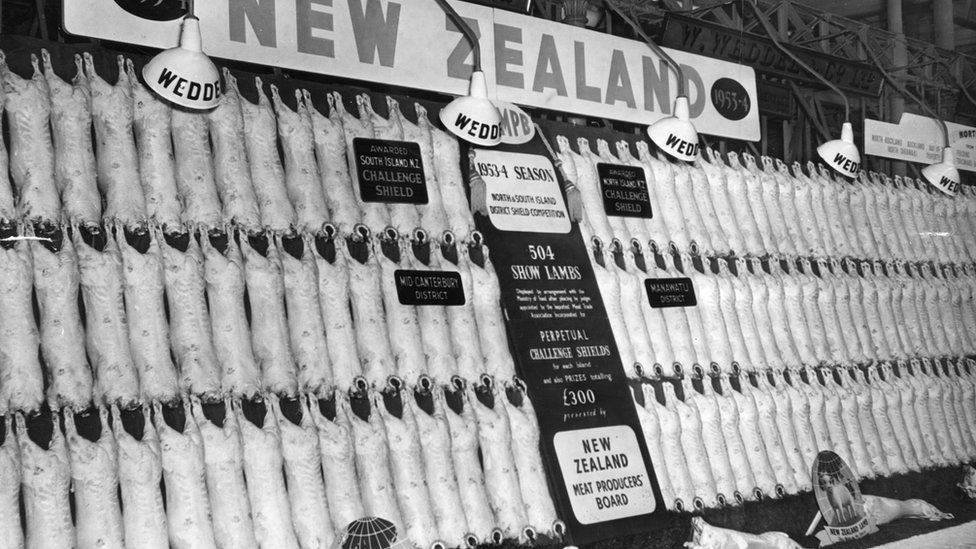 New Zealand lamb exports at Smithfield, London, May 1954