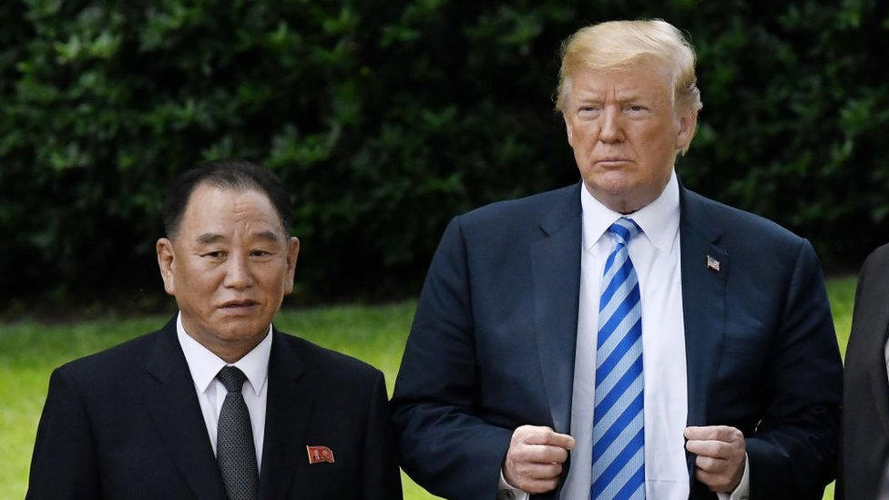 El presidente de Estados Unidos, Donald Trump, con Kim Yong-chol, en Washigton el 1 de junio de 2018
