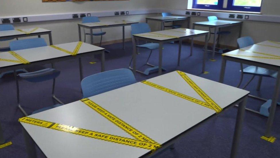Taped off classroom desks