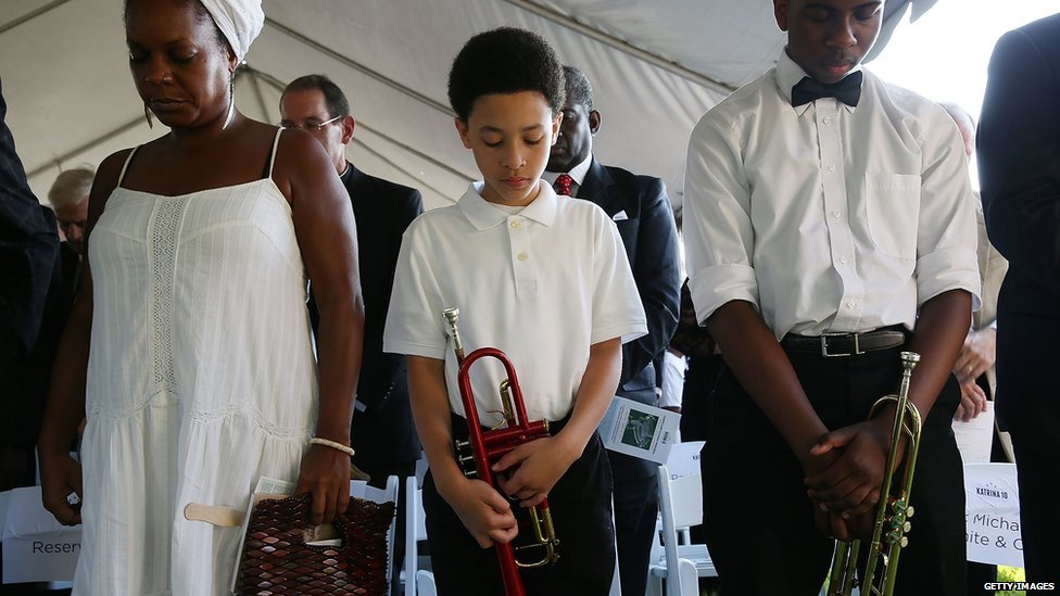 Prayers at New Orleans Katrina Memorial. 29 Aug 2015
