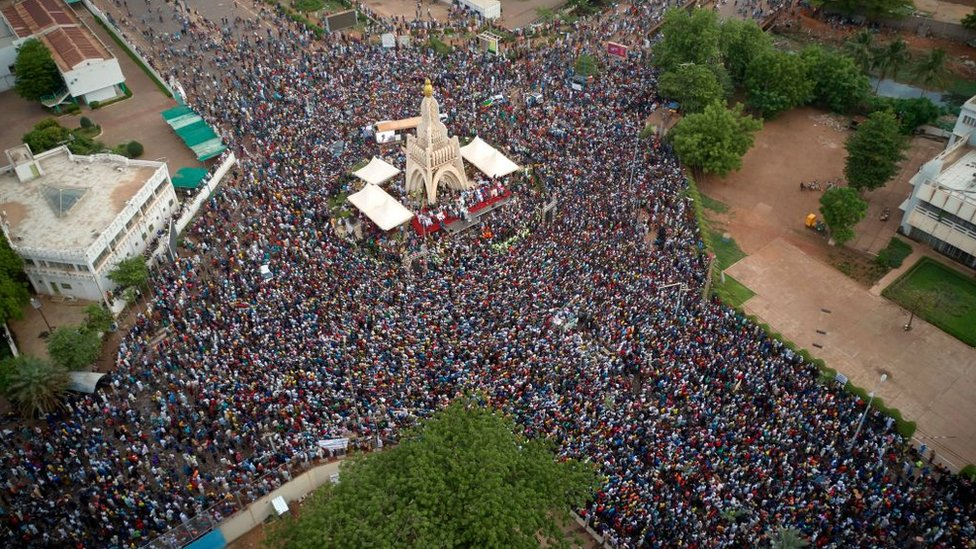 An aerial view of a mass gathering of Malians at Independence Square in Bamako -5 June 2020
