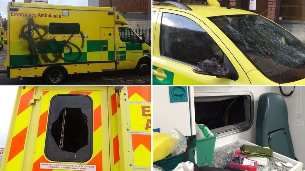 Ambulance vandalism: Bins and scooters used in attacks