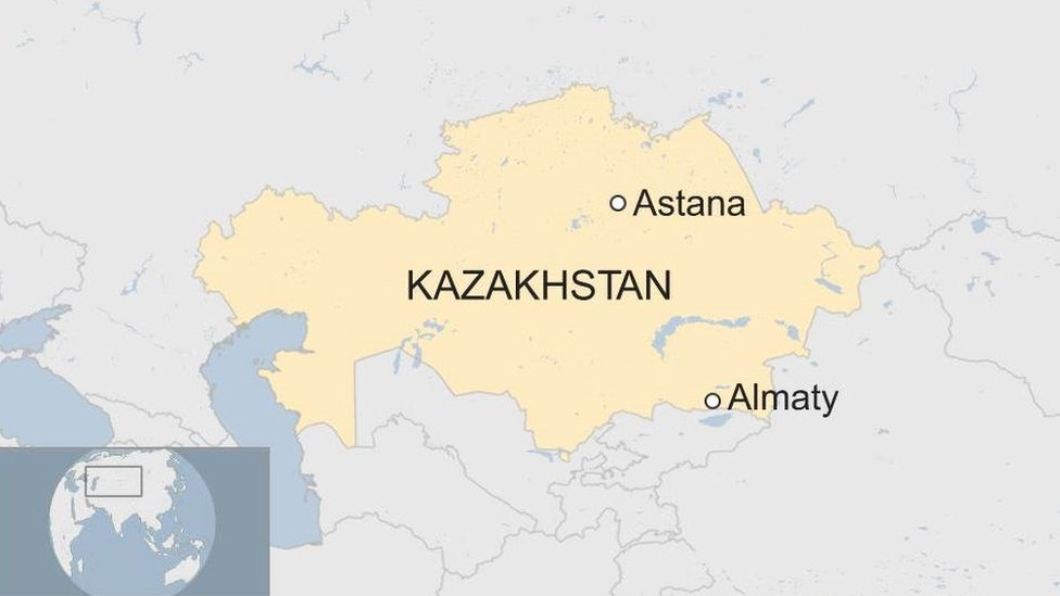 A map showing where Astana and Almaty are in Kazakhstan