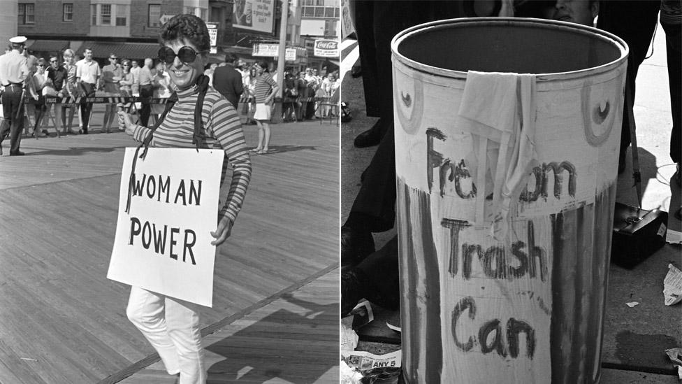 Manifestante feminista y el Basurero de la Libertad