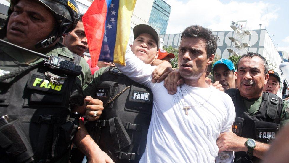 Leopoldo López durante su arresto en 2014.