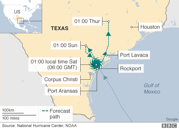 Map showing the path of the storm
