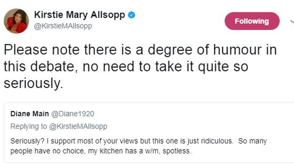 "Kirstie Allsopp on Twitter: ""Please note there is a degree of humour in this debate, no need to take it quite so seriously."""