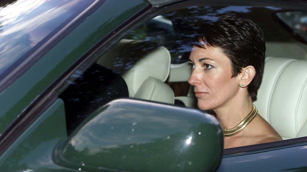 Ghislaine Maxwell leaves the Parish Church of St Michael in Compton Chamberlayne following a wedding in September 2000