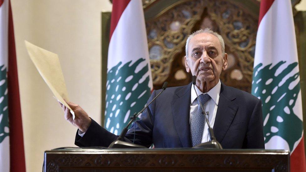 Lebanese Parliamentary Speaker Nabih Berri speaks at a news conference in Beirut on 1 October 2020