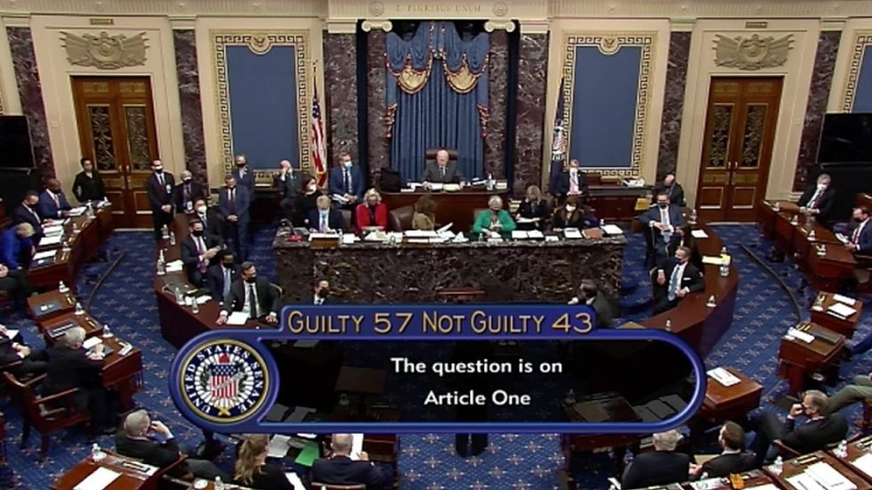 Votación sobre el juicio político a Trump en el Congreso el sábado 13 de febrero.