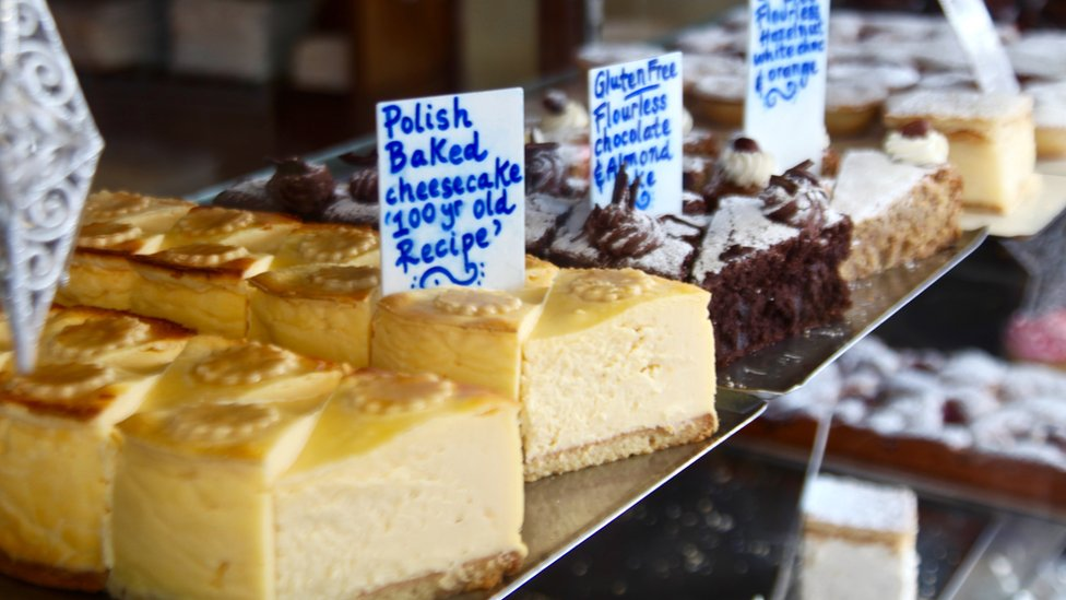 Cheesecake and other cakes at Monarch Bakery