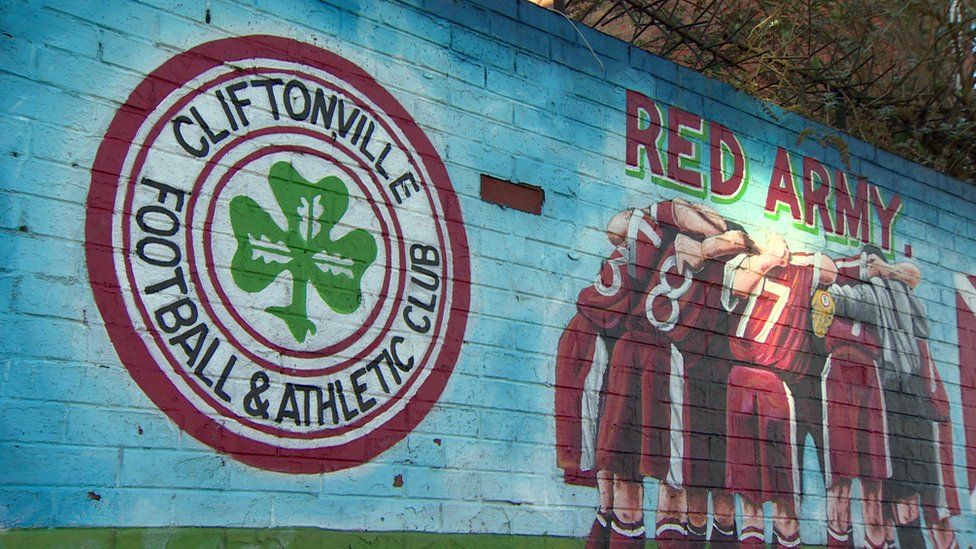 A Cliftonville mural near the club's Solitude ground in Belfast