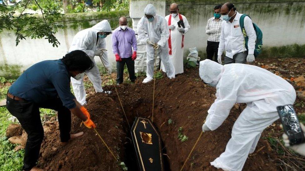 Coffin of a Covid victim in Mumbai, June 2020