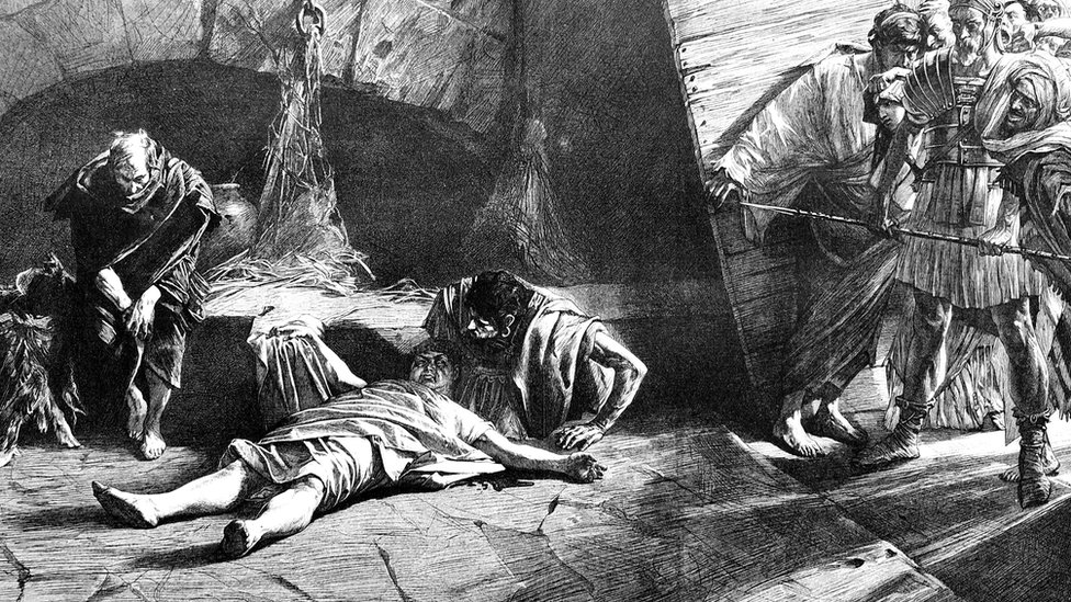 Imagen que ilustra el momento de la muerte de Nerón.