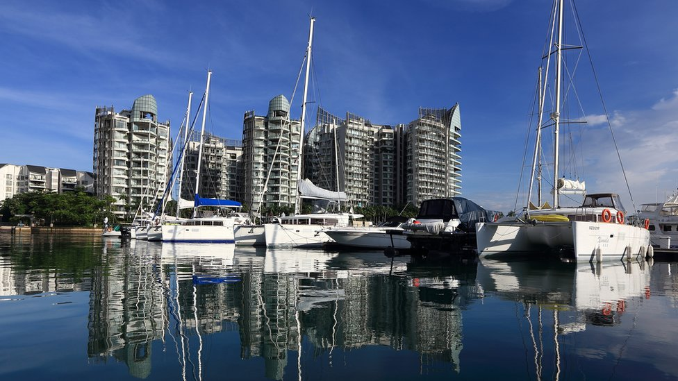 Boats and yachts berth at the ONE¡15 Marina Club in Sentosa on November 29, 2013 in Singapore