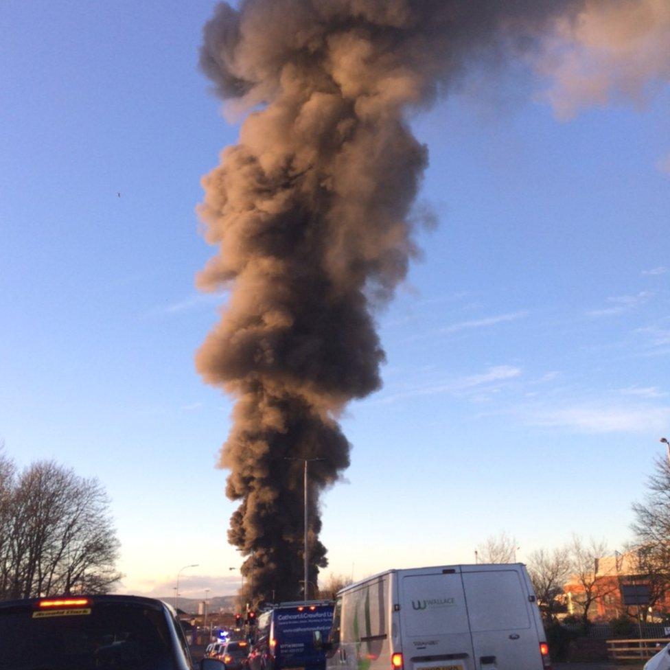 Plume of smoke from fire in Govan