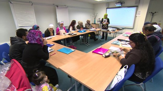 A picture of a lesson taking place to teach Syrian refugees how to survive in the UK
