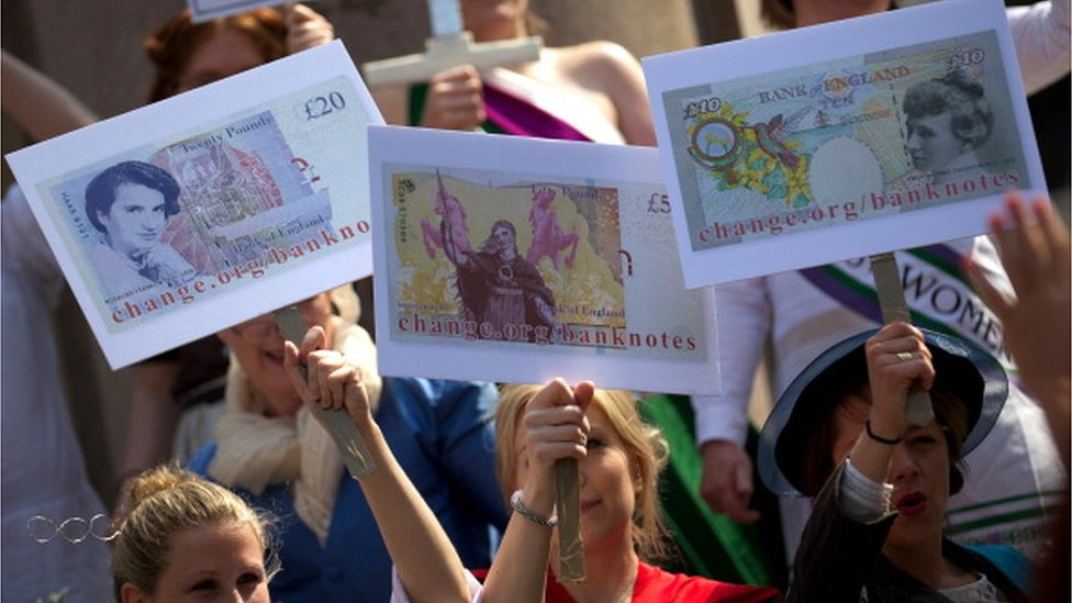 Protest over women on banknotes
