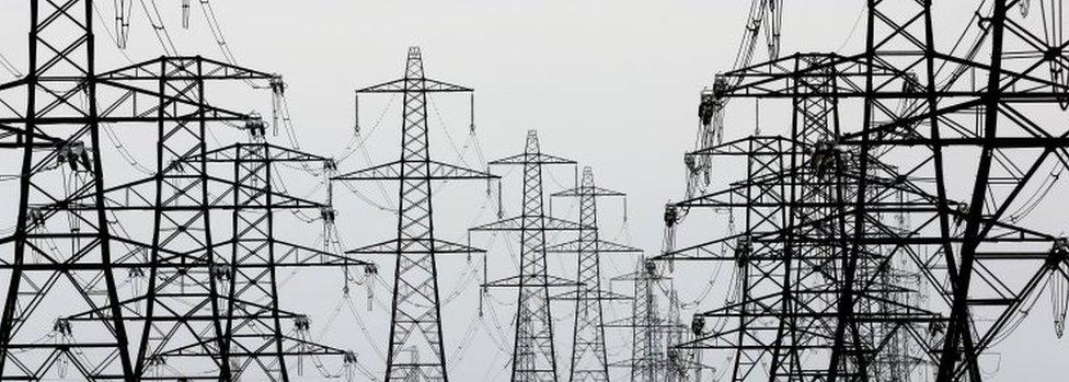 electricity pylons near Lydd, Kent,