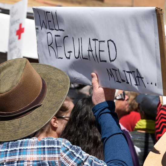 A gun control advocate holds a handmade sign with quoting a portion of the U.S. Constitution's Second Amendment at a 'March For Our Lives' rally in Santa Fe, New Mexico