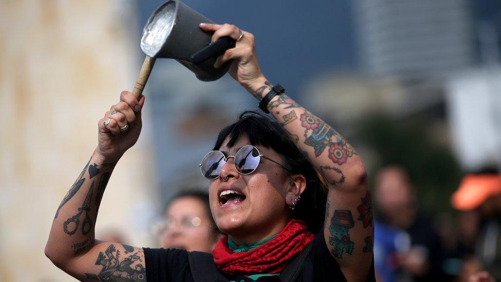 Manifestante en Bogotá, Colombia