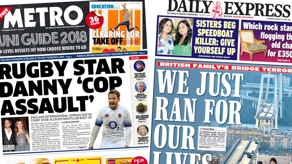 The Papers: Cipriani's court date and family's bridge escape