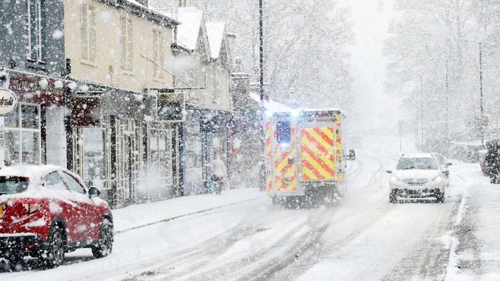Ambulance in snow