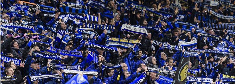 Atalanta supporters in the San Siro on 19 Feb