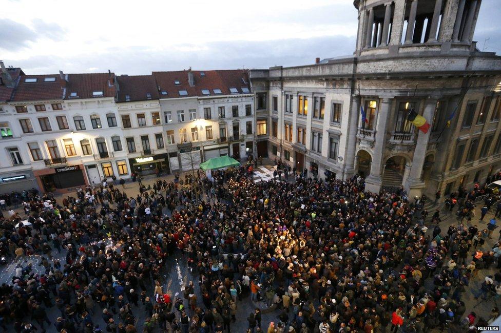 Memorial rally in Molenbeek, Belgium, 18 November