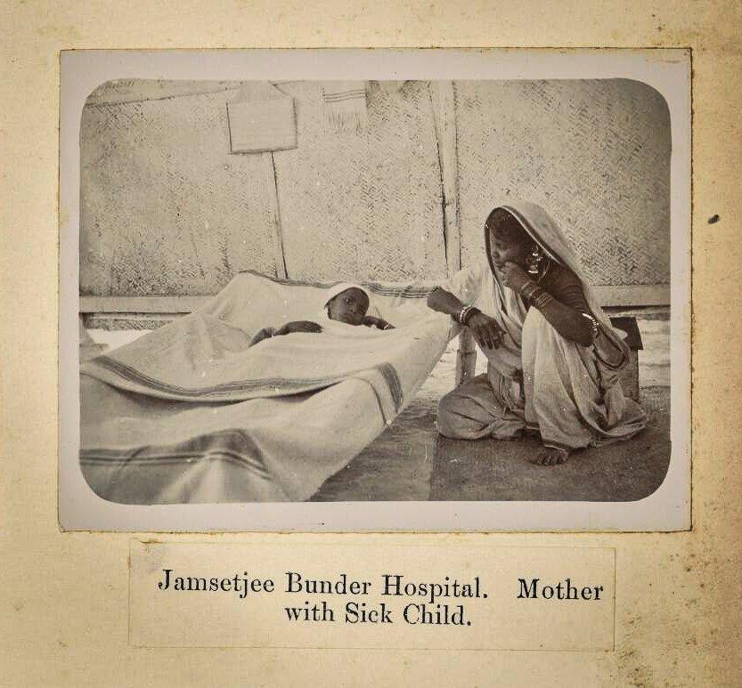 Matka z dzieckiem chorym na dżumę w Bombaju