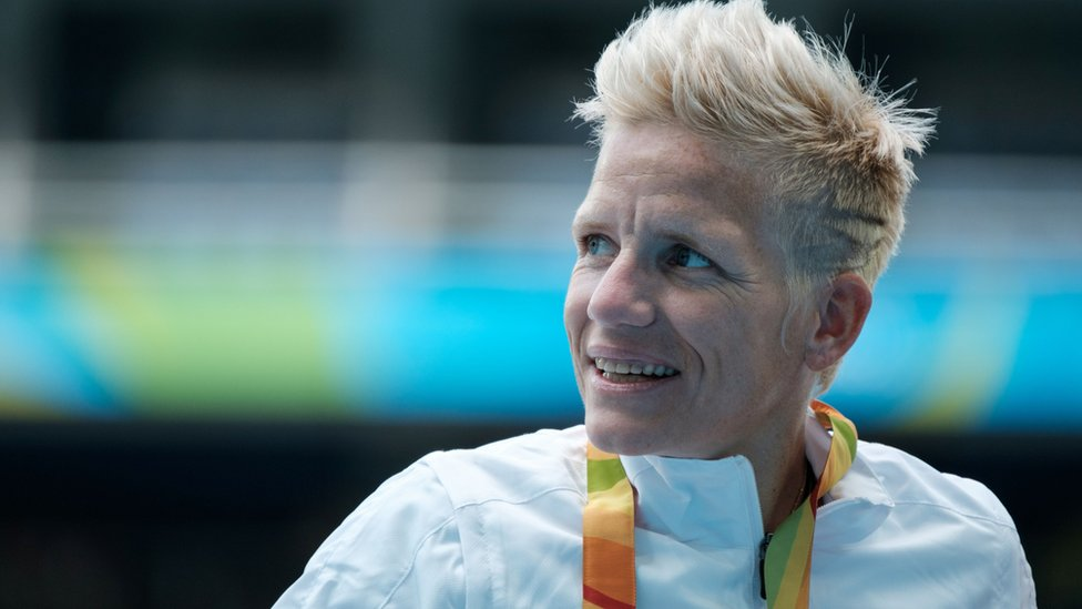 Marieke Vervoort en el podio paralímpico en Brasil