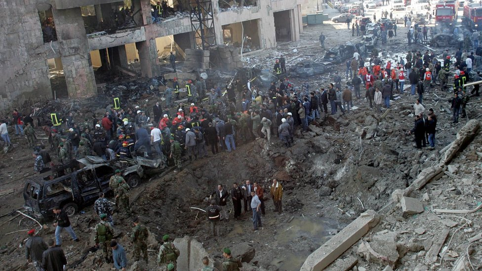 General view on the explosion scene in Beirut, Lebanon, Monday Feb. 14, 2005, where former Prime Minister Rafik Hariri was killed in a massive bomb explosion