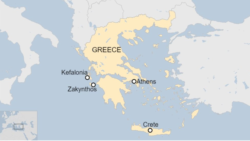 Greece map with islands labelled