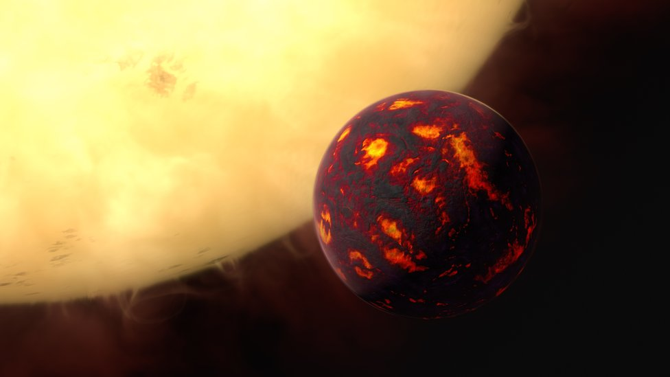artist's impression of the planet and its sun