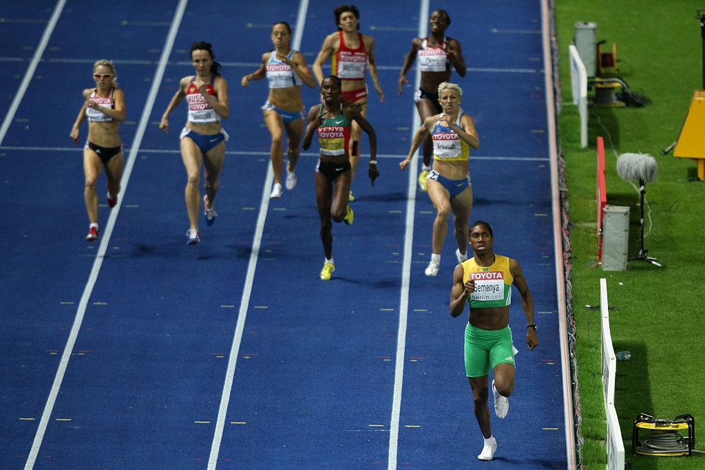 Picture showing Caster Semenya will ahead of the pack in the women's 800m finals at the 2009 World Athletic Championships