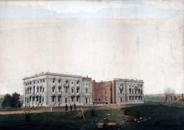 Las ruinas del Capitolio tras el ataque británico.