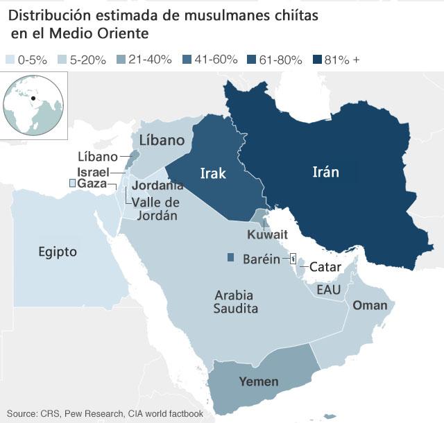 Mapa musulmanes chiítas
