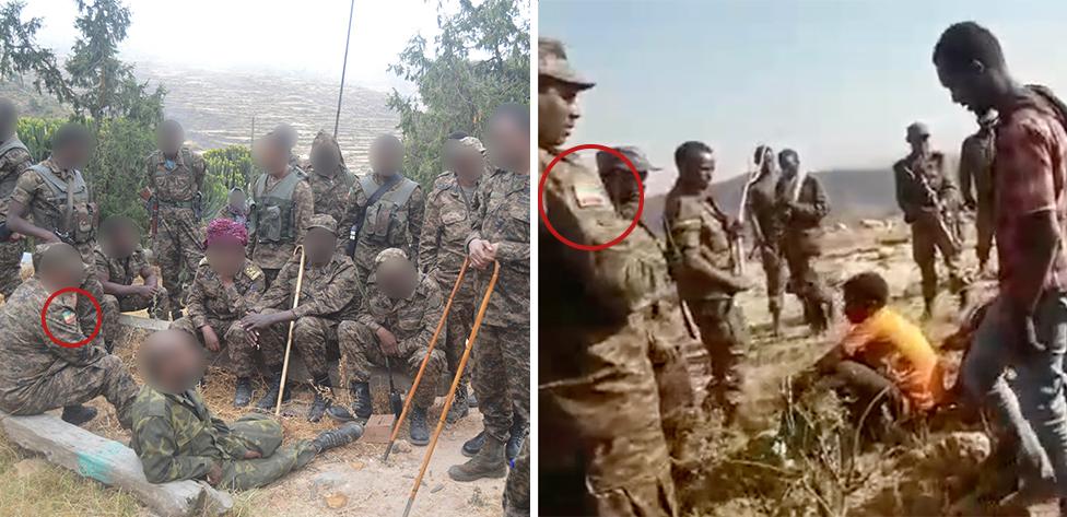 الشارات بألوان العلم الإثيوبي التي ظهرت في الفيديو تشبه زي قوات الدفاع الوطني الإثيوبية