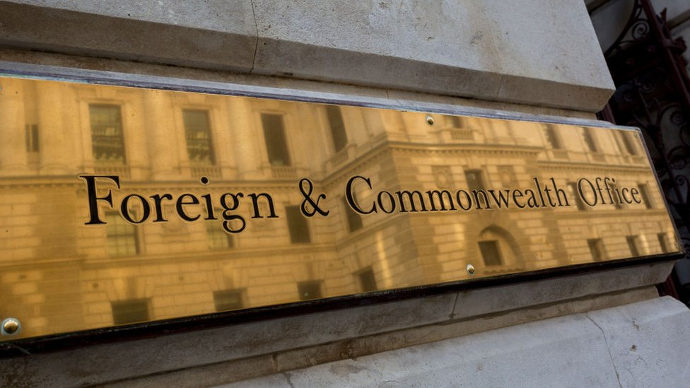 Detail of the brass nameplate outside the Foreign & Commonwealth Office